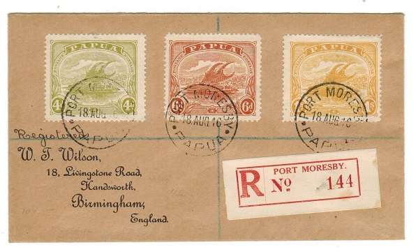 PAPUA - 1916 multi franked registered cover to UK used at PORT MORESBY.