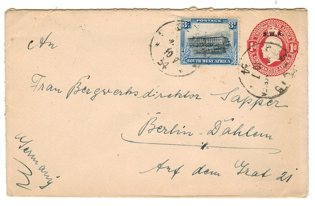 SOUTH WEST AFRICA - 1928 1d red PSE to Germany uprated at SEEIS/SWA.  H&G 6a.