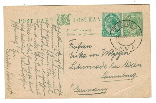 SOUTH WEST AFRICA - 1917 1/2d green uprated PSC of South Africa used at WINDHOEK. H&G 4.