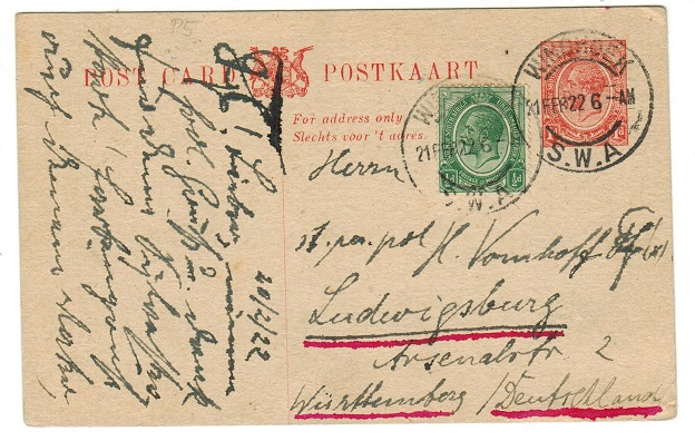 SOUTH WEST AFRICA - 1913 1d red uprated PSC of South Africa used at WINDHOEK.  H&G 2.