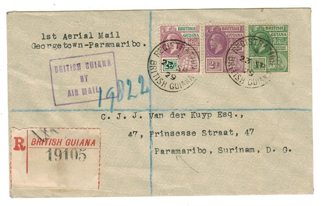 BRITISH GUIANA - 1929 registered first flight cover to Surinam.