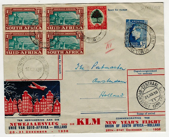 SOUTH AFRICA - 1938 first flight cover to Holland.