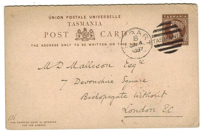 AUSTRALIA (Tasmania) - 1892 1 1/2d+ 1 1/2d brown PSRC to UK used at HOBART.  H&G 4.