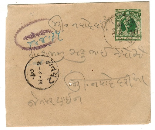 INDIA (Morvi) - 1934 6a dark green PSE used locally.  H&G 5.
