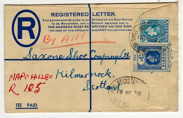 NIGERIA - 1937 3d blue RPSE to UK uprated at MAPO HILL/NIGERIA.  H&G 5.
