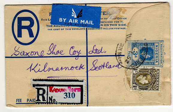 NIGERIA - 1937 3d blue RPSE to UK uprated at KADUNA NORTH/NIGERIA.  H&G 5.