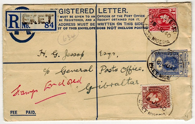 NIGERIA - 1937 3d ultramarine RPSE to Gibraltar uprated at EKET/NIGERIA.  H&G 4.
