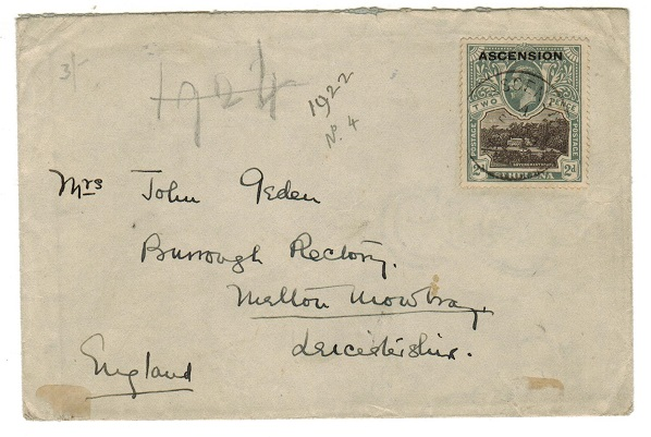 ASCENSION - 1924 2d rate cover to UK.