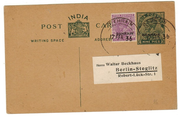 BAHRAIN - 1934 9p green PSC to Germany uprated with 1a3p adhesive at BAHRAIN.  H&G 1.