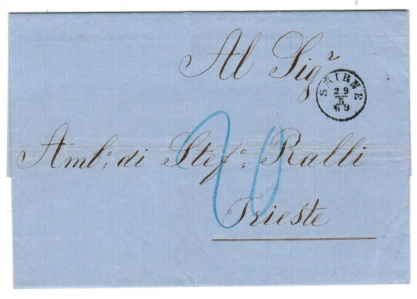 BRITISH LEVANT (Austrian Offices) - 1869 stampless cover to Italy used at SMIRNE.