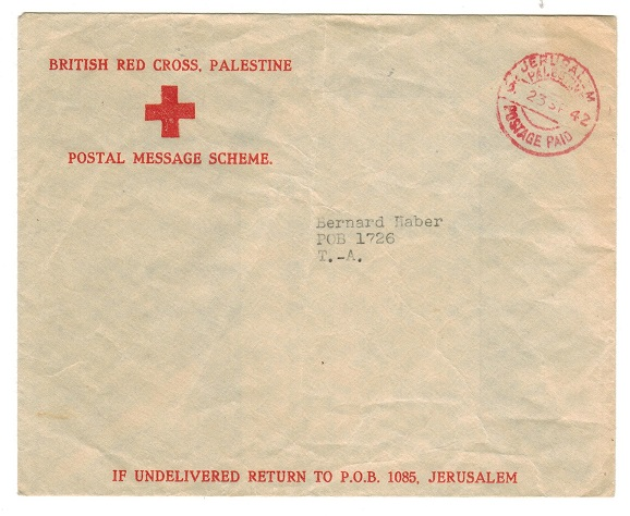 PALESTINE - 1942 RED CROSS MESSAGE envelope cancelled PALESTINE POSTAGE PAID.