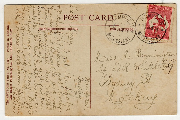 AUSTRALIA - 1914 1d rate postcard use to UK used at HAMPDEN.