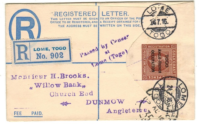 TOGO - 1917 2d+1d brown censored RPSE (size F) to UK used at LOME.  H&G 1.