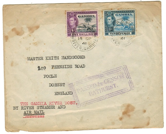 GAMBIA - 1941 1/3d rate TPO/No.2 censored cover to UK (faults).