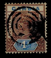 GAMBIA - 1898 4d brown and blue cancelled by