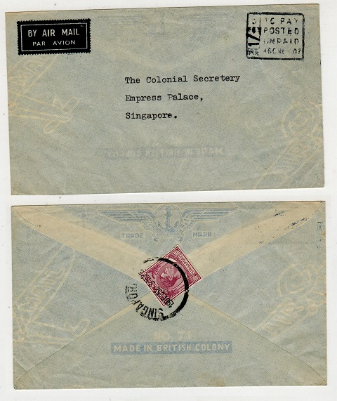 SINGAPORE - 1952 incoming underpaid cover with 10c added on reverse as postage due.