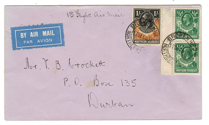 NORTHERN RHODESIA - 1931 first flight cover to Durban.