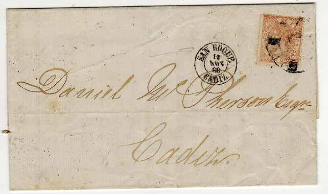 GIBRALTAR - 1868 50m Spanish adhesive on entire to Spain used at SAN ROQUE.