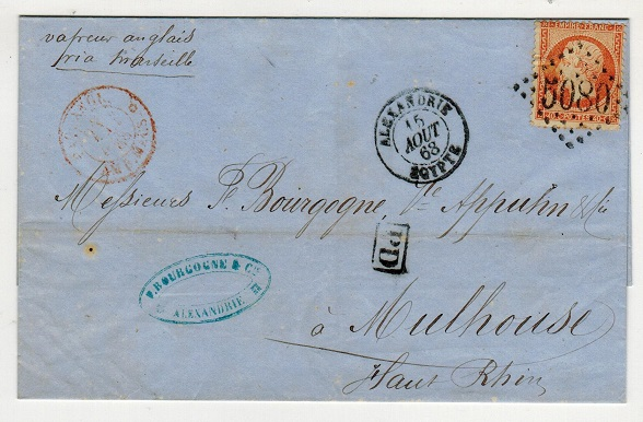 EGYPT (French Offices) - 1868 40c rate local outer wrapper cancelled
