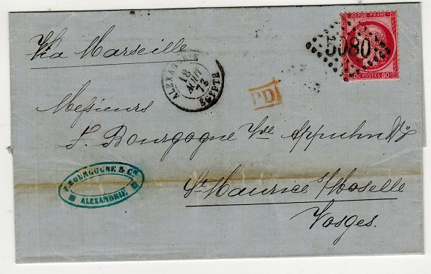 EGYPT (French Offices) - 1873 80c rate local outer wrapper cancelled