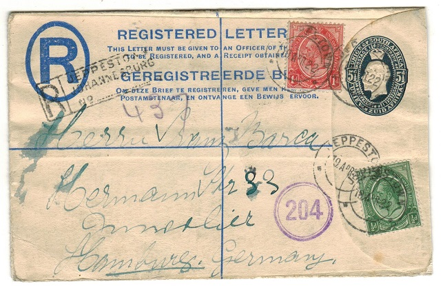 SOUTH AFRICA - 1921 5 1/2d blue on cream RPSE uprated to Germany at JEPPESTOWN.  H&G 4.