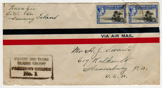 GILBERT AND ELLICE ISLANDS - 1944 6d rate