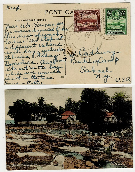 ANTIGUA - 1941 2d rate censored postcard use to USA used at ST.JOHNS.