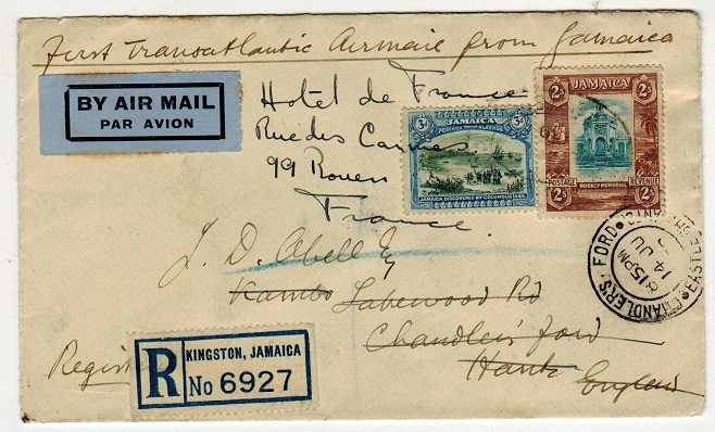 JAMAICA - 1939 registered first flight cover to UK.
