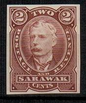 SARAWAK - 1895 2c IMPERFORATE PLATE PROOF in brown-red.