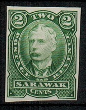 SARAWAK - 1895 2c IMPERFORATE PLATE PROOF in green.