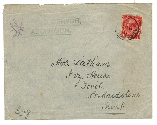 ASCENSION - 1917 1d rate censored cover addressed to UK bearing