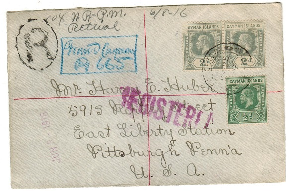 CAYMAN ISLANDS - 1916 4 1/2d rate registered cover to USA used at GEORGETOWN/GRAND CAYMAN.