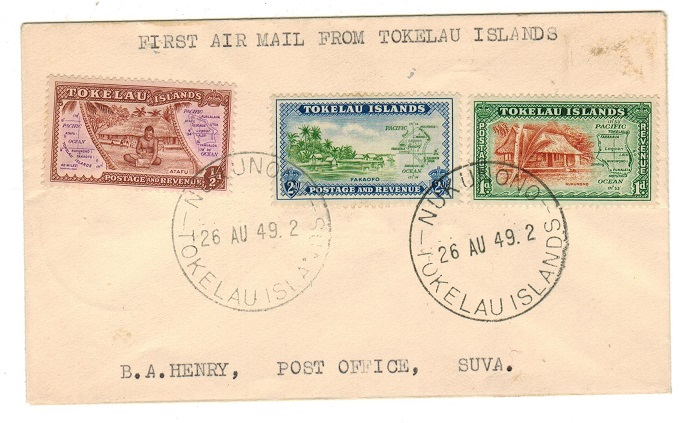 TOKELAU - 1949 first flight cover to Fiji.
