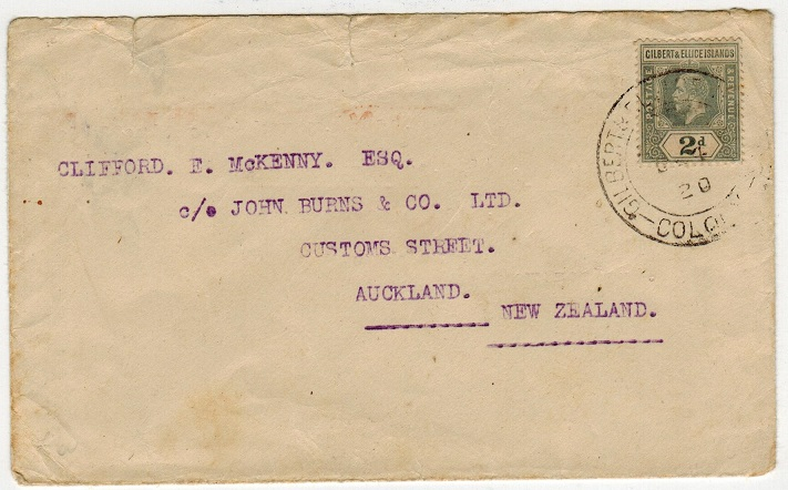 GILBERT AND ELLICE IS - 1920 2d rate cover to New Zealand used at TARAWA.