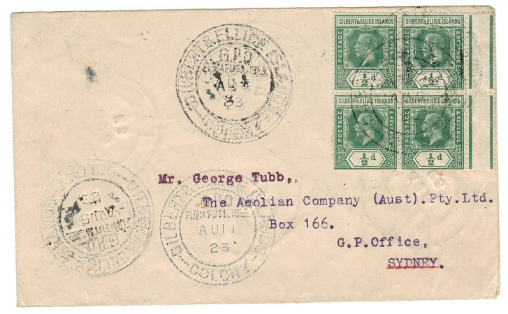 GILBERT AND ELLICE IS - 1923 2d rate cover to Australia used at FUNAFUTI.
