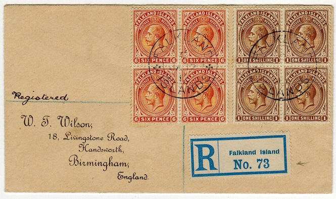 FALKLAND ISLANDS - 1913 registered cover to UK bearing 6d and 1/- blocks of four.