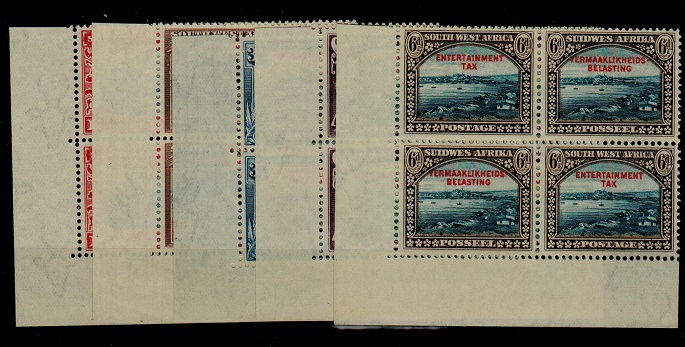 SOUTH WEST AFRICA - 1931 1d to 6d pictorials ex archive blocks overprinted ENTERTAINMENT TAX.