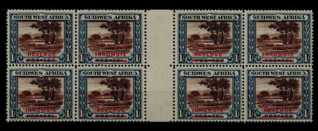 SOUTH WEST AFRICA - 1931 1/- inter-panneau block of eight overprinted REVENUE.