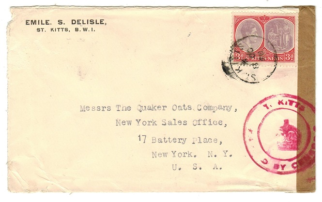 ST.KITTS - 1940 3d rate censored cover to USA.