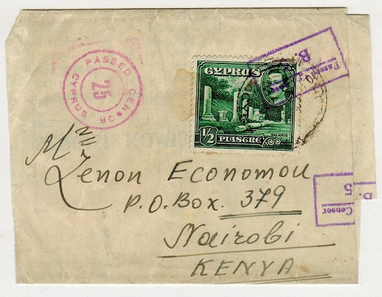 CYPRUS - 1941 1/2p green wrapper use to Kenya with