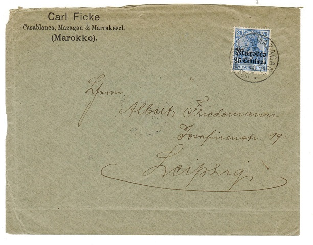 MOROCCO AGENCIES (German) - 1906 20pfg rate cover to Germany used at MAZAGAN.