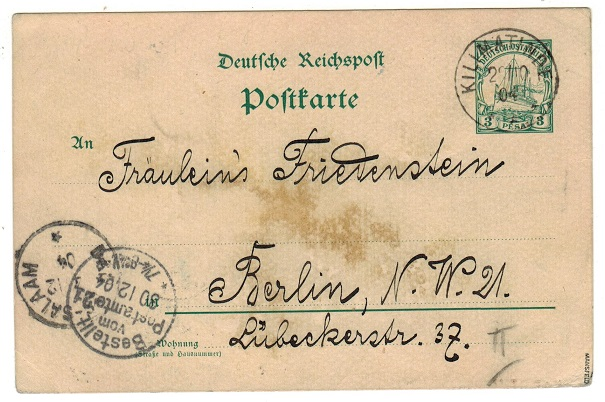 TANGANYIKA (German) - 1900 3pesa green PSC to Germany used at KILIMATINDE.  H&G 13.