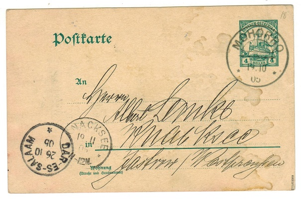 TANGANYIKA (German) - 1905 4h green PSC to Germany used at MOHORRO.  H&G 18.