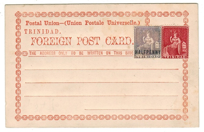 TRINIDAD AND TOBAGO - 1879 FORMULA unused postcard with 1/2d surcharge and 1d added. H&G 2.