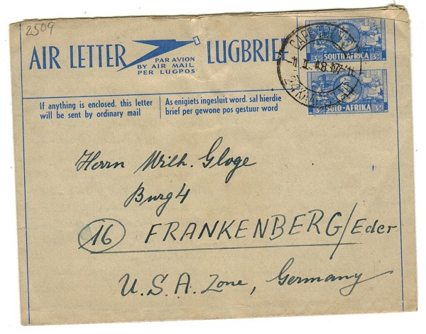 SOUTH AFRICA - 1947 3d+3d ultramarine air letter to Germany used at CAPE TOWN.  H&G 2a.
