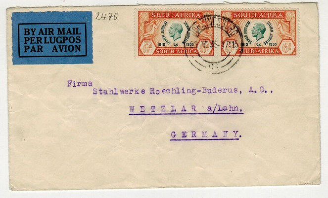 SOUTH AFRICA - 1935 commercial cover to Germany bearing 6d