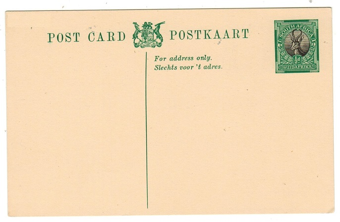 SOUTH AFRICA - 1928 1/2d green and black PSC unused.  H&G 11.