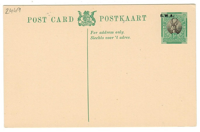 SOUTH WEST AFRICA - 1930 1/2d green and black PSC unused with MISPLACED OVERPRINT.  H&G 11.