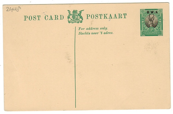 SOUTH WEST AFRICA - 1930 1/2d green and black PSC with MISSING STOP AFTER A.  H&G 11.