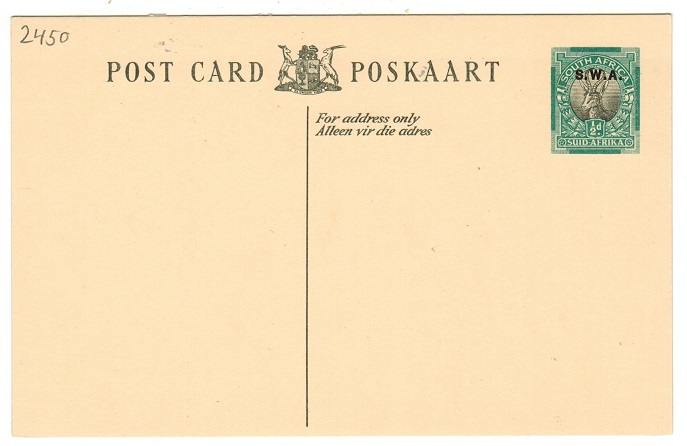 SOUTH WEST AFRICA - 1934 1/2d green and black PSC unused.  H&G 12.